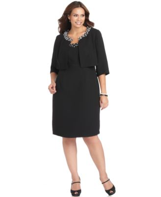 SL Fashions Plus Size Dress and Jacket, Sleeveless Beaded Sheath