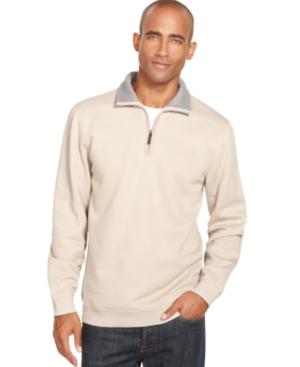 Van Heusen Sweater, Sueded Fleece Quarter Zip