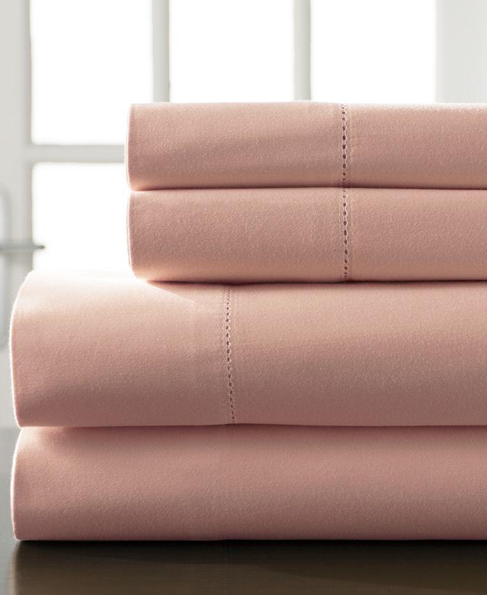 Elite Home - Hemstitch Cotton 400-Thread Count 4-Pc. White Queen Sheet Set