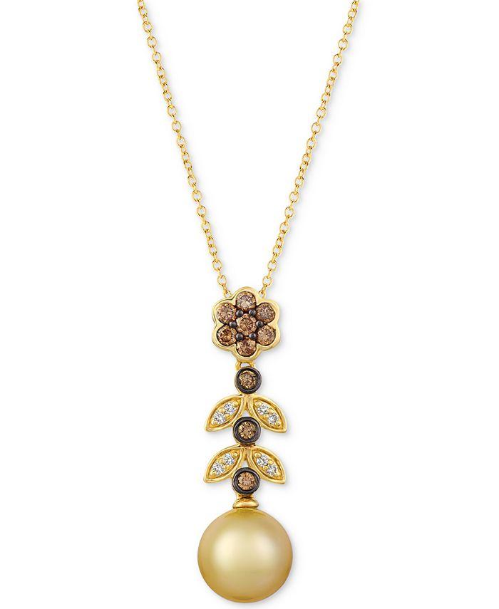 "Le Vian - Cultured Golden South Sea Pearl (9mm) & Diamond (1/3 ct. t.w.) 20"" Pendant Necklace in 14k Gold"