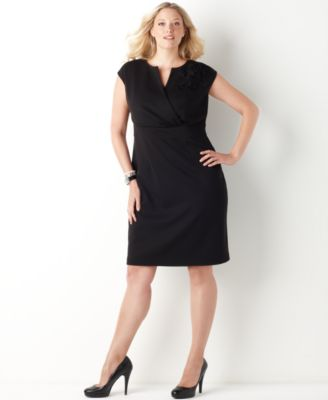 Charter Club Plus Size Dress, Cap Sleeve Ponte Empire Sheath