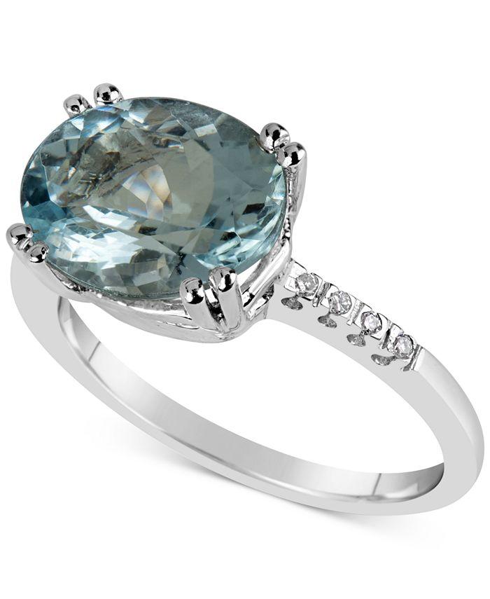 Macy's - Aquamarine (3 ct. t.w.) & Diamond Accent Ring in 14k White Gold