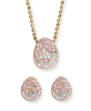 Swarovski Jewelry Set, Light Peach Crystal Necklace and Earrings Set