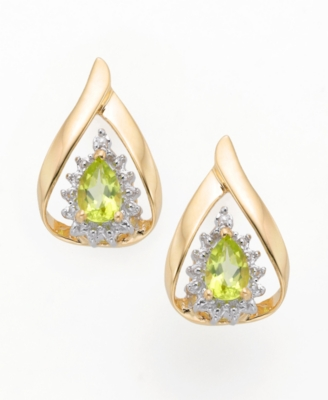 14k Gold Peridot and Diamond Accent Earring