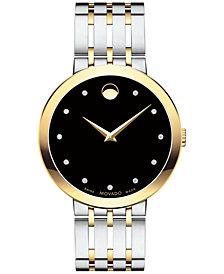 Movado Men's Swiss Esperanza Diamond-Accent Two-Tone Stainless Steel Bracelet Watch 39mm