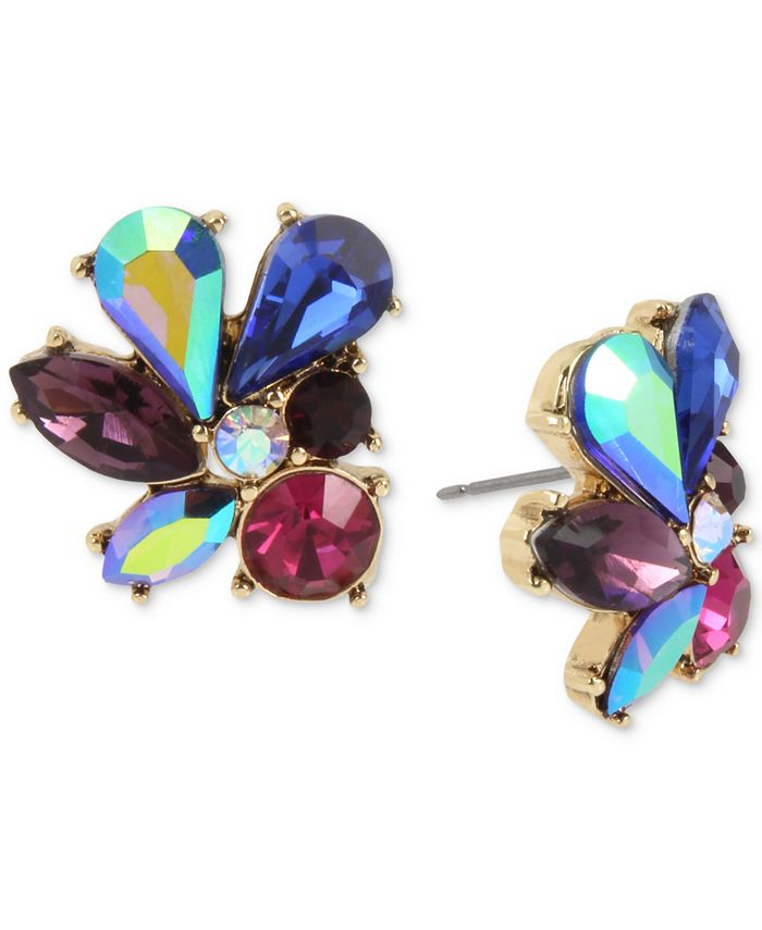 Betsey Johnson - Gold-Tone Multi-Stone Cluster Stud Earrings