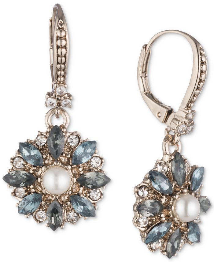 Marchesa - Gold-Tone Crystal, Stone & Imitation Pearl Drop Earrings