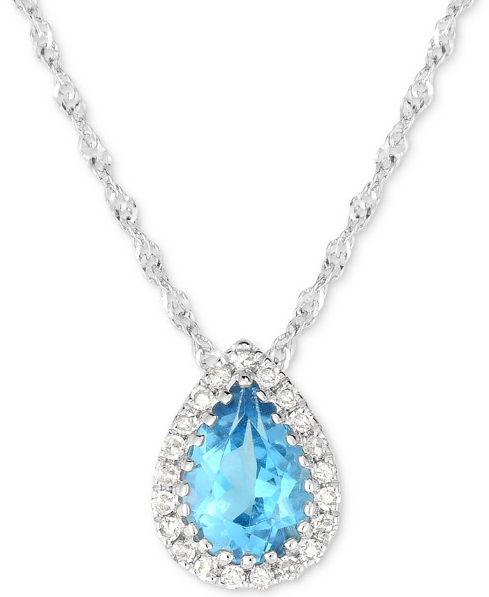 "Macy's - Blue Topaz (3/4 ct. t.w.) & Diamond Accent 18"" Pendant Necklace in 14k White Gold. (Also available in Garnet)"
