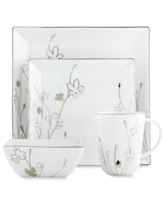 Charter Club Dinnerware, Grand Buffet Platinum Silhouette Square 4 Piece Place Setting