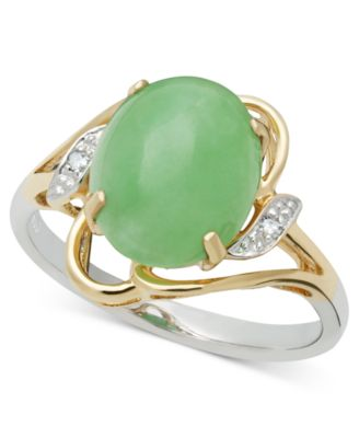 14k Gold and Sterling Silver Ring Jade 8-10mm and Diamond Accent Oval Ring