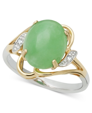 14k Gold and Sterling Silver Ring, Jade (8-10 mm) and Diamond Accent Oval Ring