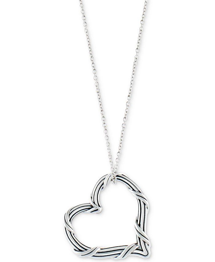 """Peter Thomas Roth - Open Heart 20"""" Pendant Necklace in Sterling Silver"""