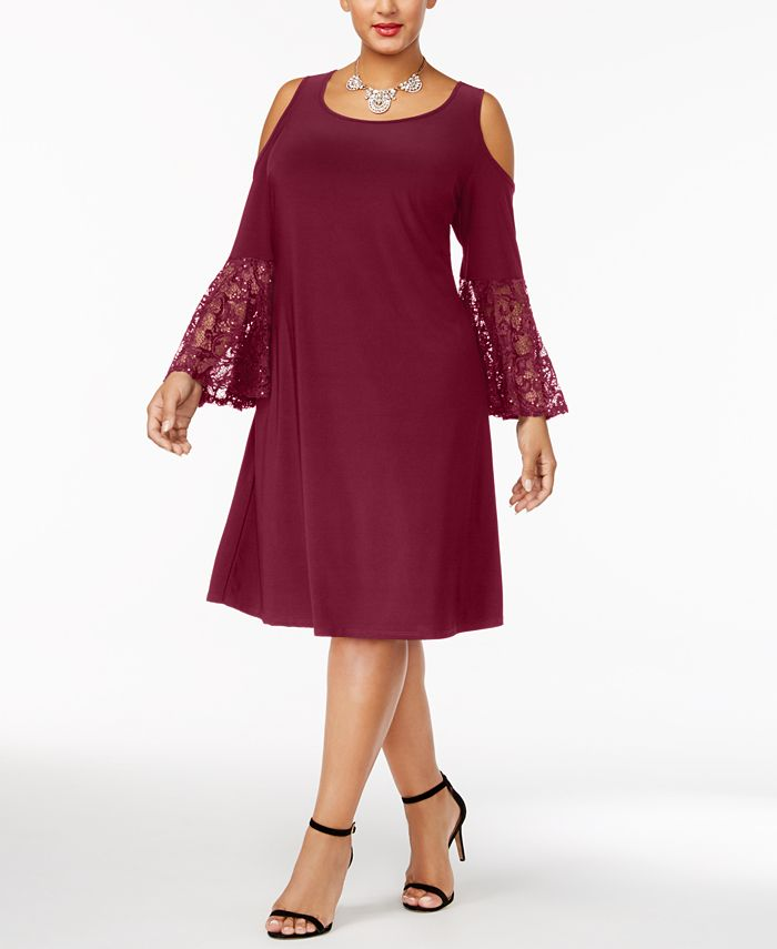 R & M Richards - Plus Size Cold-Shoulder Dress