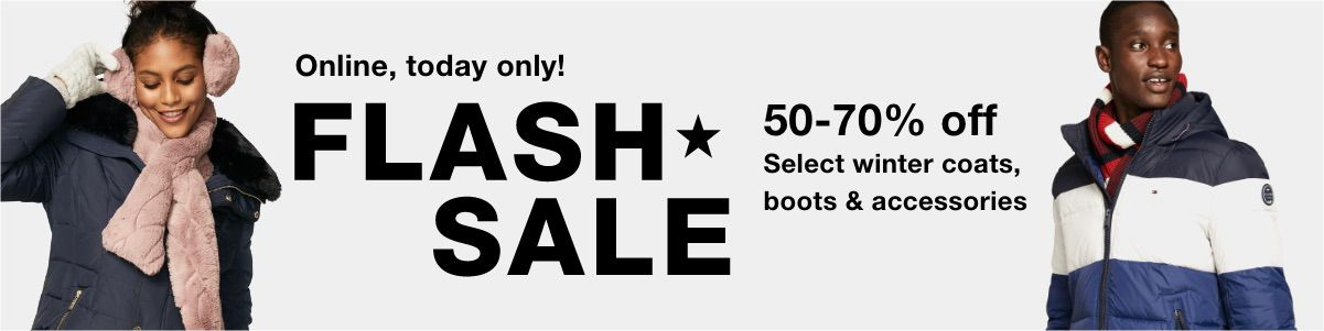 Online today only! Flash Sale, 50-70% off, Select winter coats