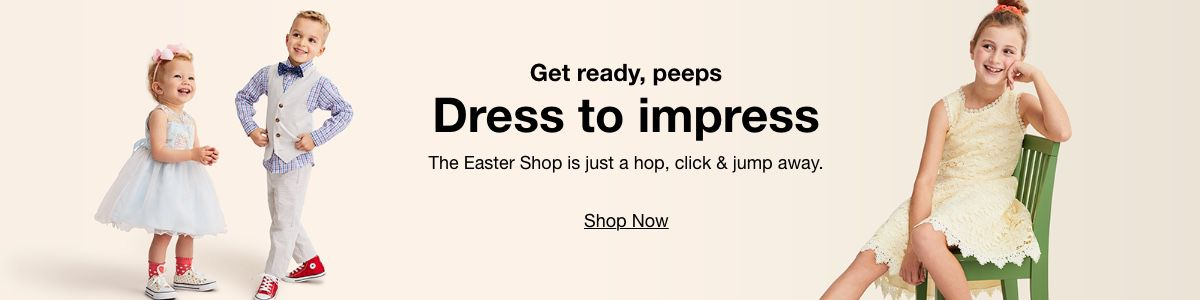 Get ready, peeps, Dress to impress, The Easter Shop is just a hop, Click and jump away, Shop Now