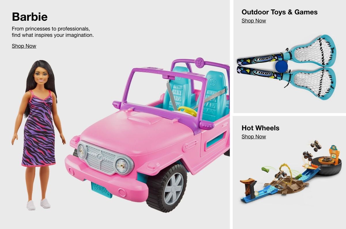 Barbie, Shop Now, Outdoor Toys and Games, Shop Now, Hot Wheels, Shop Now