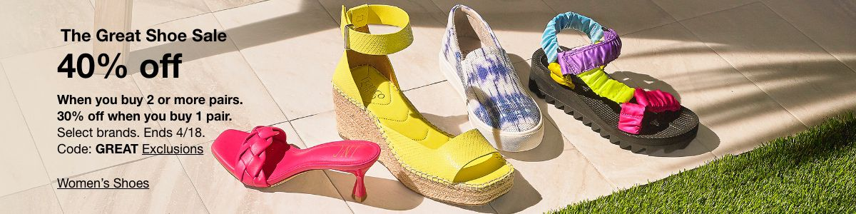 The Great Shoe Sale, 40% off, Code: GREAT Exclusions, Women's Shoes