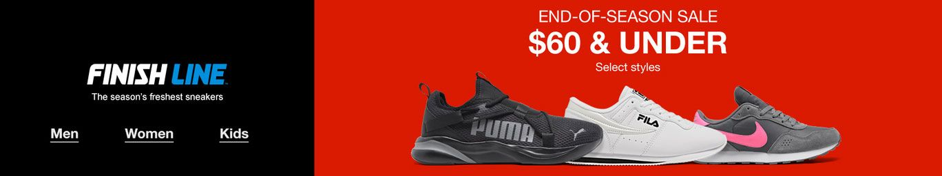Finish Line, The season's freshest sneakers, End-Of-Season Sale, $60 and Under, Select styles