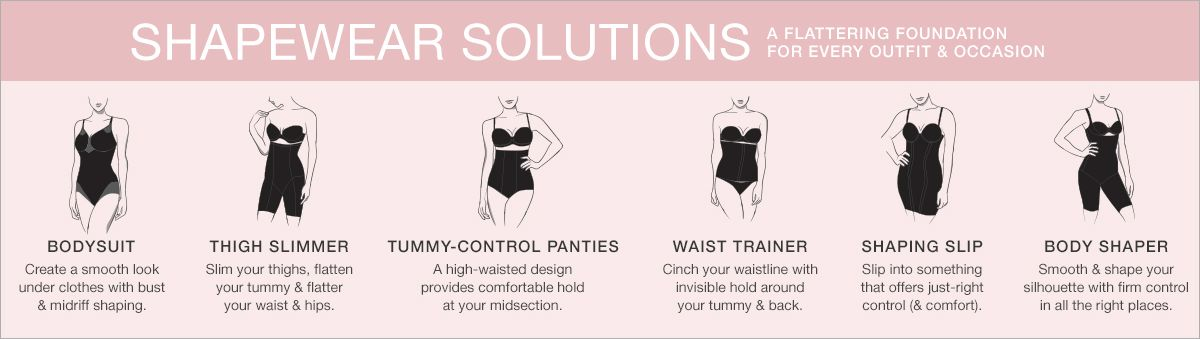 Shapewear Solutions, a Flattering Foundation For Every Outfit and Occasion, Bodysuit, Thigh Slimmer, Tummy-Control Panties, Waist Trainer, Shaping Slip, Body Shaper