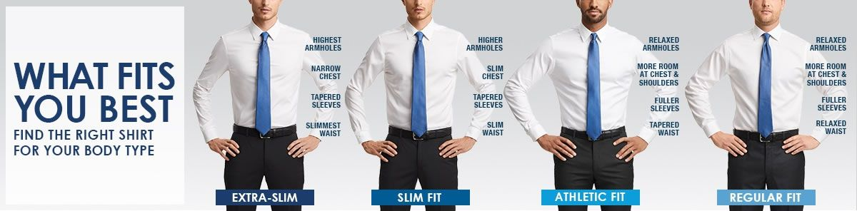 What Fits you Best, Find the Right Shirt For Your Body Type, Extra-Slim, Slim Fit, Athletic Fit, Regular Fit