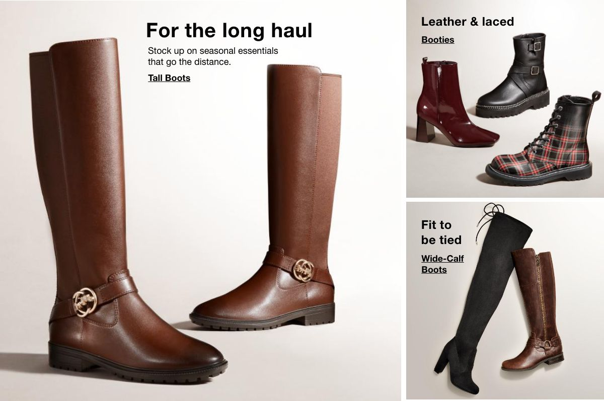 For the long haul, Tall Boots, Leather and Laced, Booties, Fit to be tied, Wide-Calf Boots