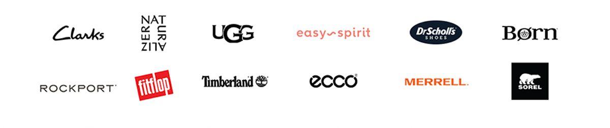 Clarks, Naturalizer, Ugg, easy spirit, Dr Scholls, Born, Rockport, fitflop, Timberland, ecco, Merrell, Sorel