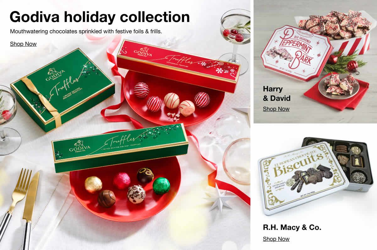 Godiva holiday collection, Harry and David, R.H. Macy and Co.