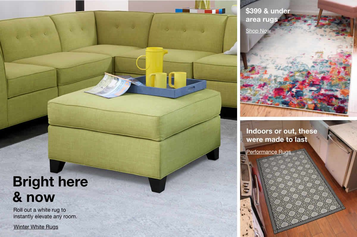 Bright here and now, #399 and under area rugs, Indoors or out, these were made to last