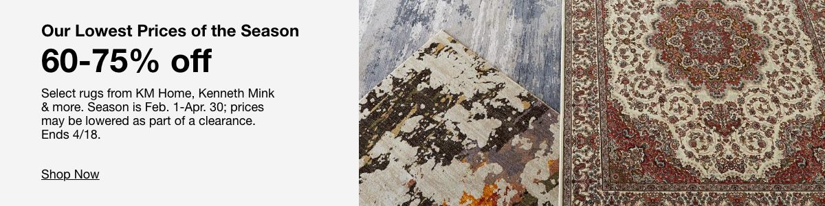 Our Lowest Prices of the Season 60-75 percent off Select rugs